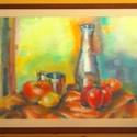Asztalon c. pasztellkép, Dekoráció, Képzőművészet, Otthon, lakberendezés, Grafika, Fotó, grafika, rajz, illusztráció, Asztali csendéletet ábrázoló pasztellkréta kép, mely paszpartúrával, üveglappal, kerettel el van lá..., Meska