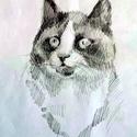 Cicc!, Dekoráció, Képzőművészet, Baba-mama-gyerek, Grafika, Megörökített macskapillanat, madárbámulás közben. 12x18cm, ceruza A cicák szerelmeseinek..., Meska