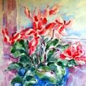 Ciklámen, Dekoráció, Képzőművészet, Otthon, lakberendezés, Festmény, Foltszerű virág ábrázolás, akvarell, 40y50cm, 2005 Keretet, üveglapot igényel., Meska