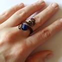 A kék kő, Háromsoros állítható rézgyűrű lapis lazuli ...