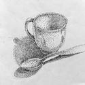 Itt a tea ideje!, Ékszer, Esküvő, Képzőművészet, Otthon, lakberendezés, Ponttechnikával készült kis grafika, tűhegyű filctollal pontoztam ki. Titka az egyszerűségében rejli..., Meska