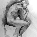 Gondolkodó- Rodin szobra nyomán, Ékszer, óra, Dekoráció, Esküvő, Otthon, lakberendezés, Franciaországban készült ez a rajz, a Rodin múzeumban. Oldalról rajzoltam le, meglepő volt számomra,..., Meska