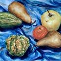 Gyümölcs és tök, Dekoráció, Otthon, lakberendezés, Képzőművészet, Festmény, Akvarell csendélet.Vidám, erőteljes hangulatú. Friss, harmonikus színvilág.  Natúr színű paszpartuva..., Meska