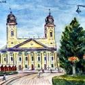 A Nagytemplom Debrecenben, Fényképről készült akvarell, 18x23cm. Keretez...