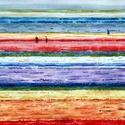 Tulipánok földjén, Esküvő, Ékszer, Képzőművészet, Otthon, lakberendezés, Fényképről készült akvarell, mely tulipán mezőket ábrázol. Megtetszett a színek egymással való játék..., Meska