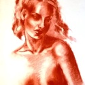 Múzsa+ajándék, Férfiaknak, Képzőművészet, Otthon, lakberendezés, Ékszer, Fotó, grafika, rajz, illusztráció, 50x70cm-es pittkréta rajz, Ingres papíron, lefixálva. Félig tanulmány, félig fantázia. Hálószobába ..., Meska