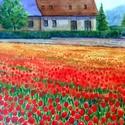 Tulipánok földje, Ékszer, Esküvő, Képzőművészet, Otthon, lakberendezés, Festészet, Fotó, grafika, rajz, illusztráció, Szeretem az élénk, meleg színeket, e virágmező jó ürügy volt hogy használjam őket...Vidám és baráts..., Meska