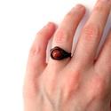Arany és homok, Ékszer, Esküvő, Gyűrű, Tekergetett réz gyűrű 8mm-es Goldfluss rekonstruált ásvánnyal díszítve. A csillogást az összezúzott ..., Meska