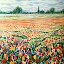 Virágmező, Ékszer, Esküvő, Képzőművészet, Otthon, lakberendezés, Vegyes színű tulipánmező, akvarellpapíron vízfestékkel. Tavaszi hangulatú, friss színek. üveglapot, ..., Meska