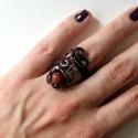Inda rézgyűrű, Állítható rézdrót gyűrű Goldflussal díszí...