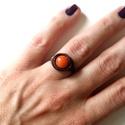 Narancsos, Ékszer, Esküvő, Ruha, divat, cipő, Gyűrű, Rézgyűrű Narancsjádéval, ezt a követ szerencsehozónak tartják. Izgalmas színe vidámságot kölcsönöz. ..., Meska