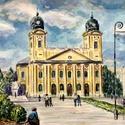 Debrecen, Nagytemplom - akvarell, Dekoráció, Esküvő, Képzőművészet, Akvarell, amin Debrecen főtere látható a Nagytemplommal a középpontban. Be van keretezve, homokszínű..., Meska