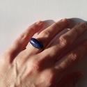Igéző kék, Ékszer, Esküvő, Ruha, divat, cipő, Gyűrű, Gyűrű rézdrótból,melyet Lapis lasuli féldrágakővel díszítettem, majd antikoltam. A kő hatása: görcso..., Meska