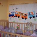Vonatos gyerek, baba falvédő / játék / falikép/  - rendelésre, Baba-mama-gyerek, Gyerekszoba, Falvédő, takaró, Varrás, Puha termo anyagból készült vonatos falvédő kivehető-játszható ujjbábokkal, kimondottan kiságyhoz m..., Meska