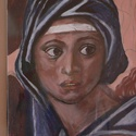 Michelangelo Madonna, Képzőművészet, Grafika, Rajz, Festészet, A kép  pasztell  krétával készült ,papírra . Mérete 21x30 cm   üveg előlappal ,falra akasztható , Meska