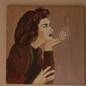 KARÁDY KATALIN PORTRÉ, Képzőművészet, Festmény, Akril, Festészet, 30X30 CM feszített vászonra készült ,olaj és  akril festékkel  1956-os fotó alapján készült ,mely m..., Meska