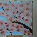 Virágzás, Dekoráció, Képzőművészet, Dísz, Vegyes technika, Festészet, Cseresznyefa virágzás a témája ennek a festménynek.  Kedves meglepetés lehet bárkinek ,névnapra,szü..., Meska