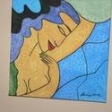 görög nő, Képzőművészet, Festmény, Akril, 50 x70 cm-es feszített vászonra készült , Meska