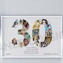 A3-as Szülinapi fényképes szám poszter, 30-as szám print montázs, faliposzter, poszter