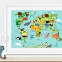 Babaszoba poszter állatos világtérkép földgömb kontinens atlasz babaszoba falidekor szülinapi poszter rajz nyomat koala, Baba-mama-gyerek, Dekoráció, Gyerekszoba, Baba falikép, Szeretitek az állatokat és a világ sokszínűségét? Biztos sok mindent végig lehet mutatni ezen az ara..., Meska