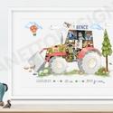Szülinapi poszter, A3, fényképes, traktoros babaszoba dekoráció, kisfiú emlékap, Baba-mama-gyerek, Dekoráció, Gyerekszoba, Baba falikép, Kisfiad megszállott pasi és imádja a jármüveket, traktorokat, mindent ami kormányozható? Tegyél akko..., Meska