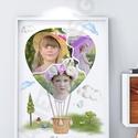 A3-as gyerekszoba dekoráció, kollázs, szülinapi poszter, print hőlégballon fényképes emléklap montázs, faliposzter, Baba-mama-gyerek, Dekoráció, Gyerekszoba, Baba falikép, Hőlégballon formába öntött fényképes print, poszter nemcsak gyerekszobába.  Sok a fotód a gyermekedr..., Meska