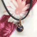 Lápisz lazuli medál, Ékszer, óra, Medál, Nyaklánc, Ékszerkészítés, Egy lápisz lazuli gyöngyöt foglaltam be réz ékszerdróttal,majd antikoltam. A gyöngy:1cm A kész medá..., Meska