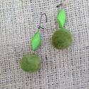 Zöld nemez fülbevaló, Ékszer, óra, Fülbevaló, Nemez fülbevaló, Meska