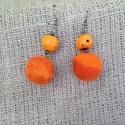 Narancssárga nemez fülbevaló, Ékszer, óra, Fülbevaló, Nemezelés, Nemez fülbevaló  , Meska