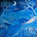 Kékségbe zárt világ, Képzőművészet, Fotográfia, Festmény, Akril, Festészet, Álmodozó gyerekeknek, vagy gyermek lelkű felnőtteknek.<3   50*50-es feszített vászonra festettem, s..., Meska
