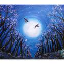Májusi éjszaka - akril festmény, Képzőművészet, Festmény, Akril, Festészet, Misztikus hangulatú , megnyugtató hatású festmény.  50x70-es feszített vászonra festettem akrillal...., Meska