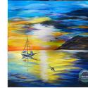 Magányos csónak, Képzőművészet, Festmény, Akril, Festészet, Szikrázóan színes impulzív képem, szerintem mégis nyugalmat áraszt. -  az egyik személyes kedvencem..., Meska