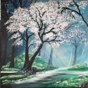 Egy ködös április reggelen..., Képzőművészet, Festmény, Akril, Tavaszodik. Bár a reggelek még hűvösek a napsugarak áttörnek a ködön,és életre keltik a természetet...., Meska