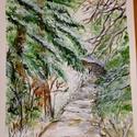 Téli erdő, Képzőművészet, Festmény, Akvarell, A4-es méretű akvarell 300 g/nm-es canson papíron. (Keret nélkül), Meska