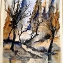 Téli pillanatok - Winter moments, Képzőművészet, Festmény, Akvarell, A4 -es méretű akvarell minőségi 300-as sűrűségű Canson papíron.  Keret nélkül, Meska