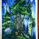 Fenyők tánca, Képzőművészet, Festmény, Akvarell, Festészet, A 4-es méretű mesebeli akvarell minőségi Canson papíron. (keret nélkül ) , Meska