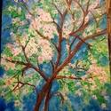 Mandulavirágzás - olajfestmény, Képzőművészet, Festmény, Olajfestmény, Farostra kasírozott vászonra festettem ezt a tavaszi képet, modellje az életében először virágzó man..., Meska
