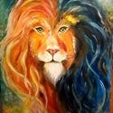 A színek oroszlánja, Képzőművészet, Festmény, Olajfestmény, 40x50 cm -es feszített vászonra készült impulzív olajfestmény. Izgalmas színfolt lehet otthon..., Meska