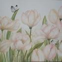 Tulipán kert, Dekoráció, Otthon, lakberendezés, Kép, Falikép, Festészet, Mintha szélben hajladoznának a tulipánok, körülöttük három pillangó repked, akár a mesében.... Tava..., Meska