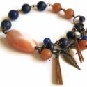 Achát Kék Jade Bőrrel - Réz Karkötő , Könnyű réz karkötő a következő kövekkel: *...
