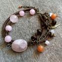 Rózsakvarc és bronzit - Réz Karkötő , Könnyű réz karkötő a következő kövekkel: *...