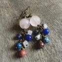 Rodonit és Lápisz Lazuli - Réz fülbevaló, Ékszer, Szépségápolás, Ruha, divat, cipő, Fülbevaló, Valódi kövekből készült fülbevaló réz kiegészítőkkel kombinálva.  Kövek: rózsakvarc, lapisz lazuli, ..., Meska