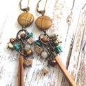 -20%  Jáspis és türkiz bőrrel- Réz fülbevaló, Valódi kövekből készült fülbevaló réz kieg...