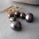 Lila irizáló tenyésztett gyöngy goldfill fülbevaló , Finom elegáns fülbevaló irizáló gyöngyökkel...