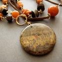 Képjáspis medálos ásvány nyaklánc aventurin és jáspis ásványokkal, bőrrel és rézzel, Barna és narancs színvilágú nyári ásvány ny...