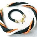 -20 % kedvezmény! Noire ékszer szett, Ékszer, Esküvő, Nyaklánc, Esküvői ékszer, Kivàló minőségű fekete és beige szìnű kötélből valamint narancs és fekete zsinórból készült a nyaklà..., Meska