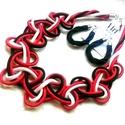 Akció! Katalàn ékszerszett, Ékszer, Esküvő, Nyaklánc, Esküvői ékszer, Kiváló minőségű paracord( piros-fekete-fehér szìnű) anyagból készült a nyakék ,különleges,csomózott ..., Meska