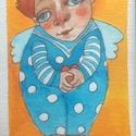 Angyal , Egyéb, Otthon & lakás, Képzőművészet, Illusztráció, Fotó, grafika, rajz, illusztráció, A kép illusztráció, mesefigura. Fantázia szüleménye. Az angyal sorozat része. Kis méretű passzpartú..., Meska