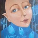 Titok II.  /Kék asszony  / Akril kép /, Egyéb, Otthon & lakás, Képzőművészet, Festmény, Akril, Festészet, A kép a titok sorozat második képe. Akril technikával készült.  Mérete : 20x60x2 cm. Feszített vász..., Meska