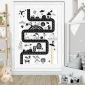 Kirándulás poszter skandináv minimál stilus falidekor gyerekszoba dekoráció szülinapi poszter babaváró maci nyuszi bagol